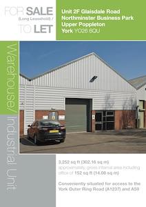 Unit 2F, Glaisdale Road, Northminster Business Park, Upper Poppleton, York, YO26 6QU