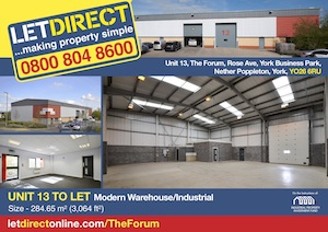 Unit 13, The Forum, Rose Avenue, York Business Park, Nether Poppleton, York, YO26 6BL